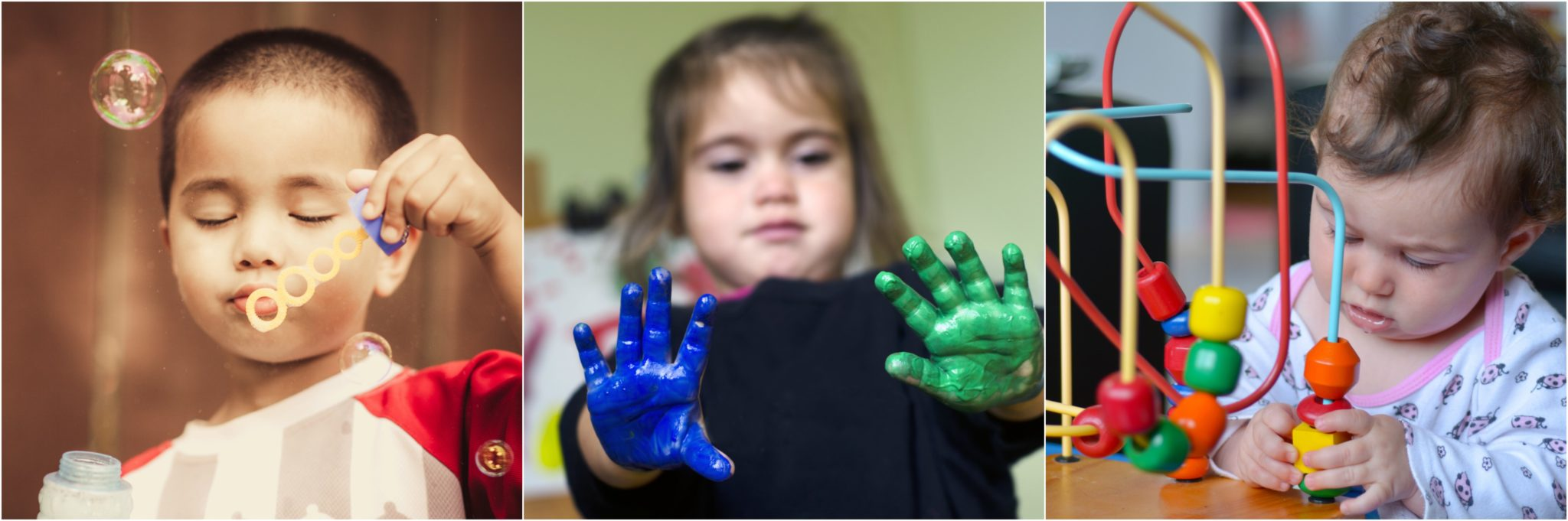 boy blowing bubbles, girl with blue and green paint on hands and child playing with toy - lots of activity at Timeout playgroup